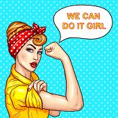 Vector pop art illustration of an attractive confident woman housewife demonstrating her strength by roll up her sleeve. Motivating poster with a housewife talking We can do it, girl poster
