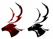 A stag deer tattoo design in two color schemes poster