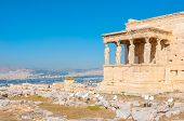 Port of Caryatids is an element of Erechtheion and the symbol of ancient Greek architecture Athens Greece poster