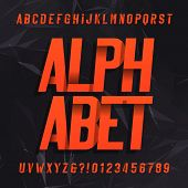 Decorative alphabet vector font. Oblique letters symbols and numbers  on a dark abstract background. Typography for headlines, posters etc. poster