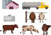 vector illustration of a cute milk farm poster