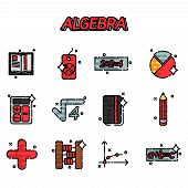 Mathematical science. Algebra. Calculus. Geometry. Exact sciences. Education and scientific icons set. Vector flat design concept poster