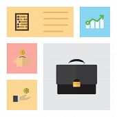 Flat Incoming Set Of Counter, Hand With Coin, Portfolio Vector Objects. Also Includes Portfolio, Abacus, Bank Elements. poster