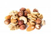 Heap from various kinds of nuts almond walnut hazelnut cashew Brazil nut isolated on white background. poster