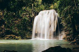 the Third Level of Erawan Falls in Erawan National Park Kanchanaburi Thailand