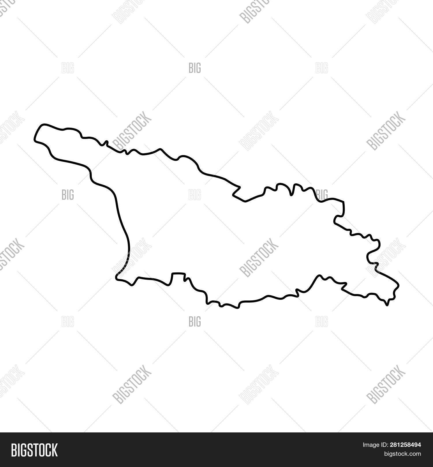 Outline Of Georgia Map.Map Georgia Outline Image Photo Free Trial Bigstock