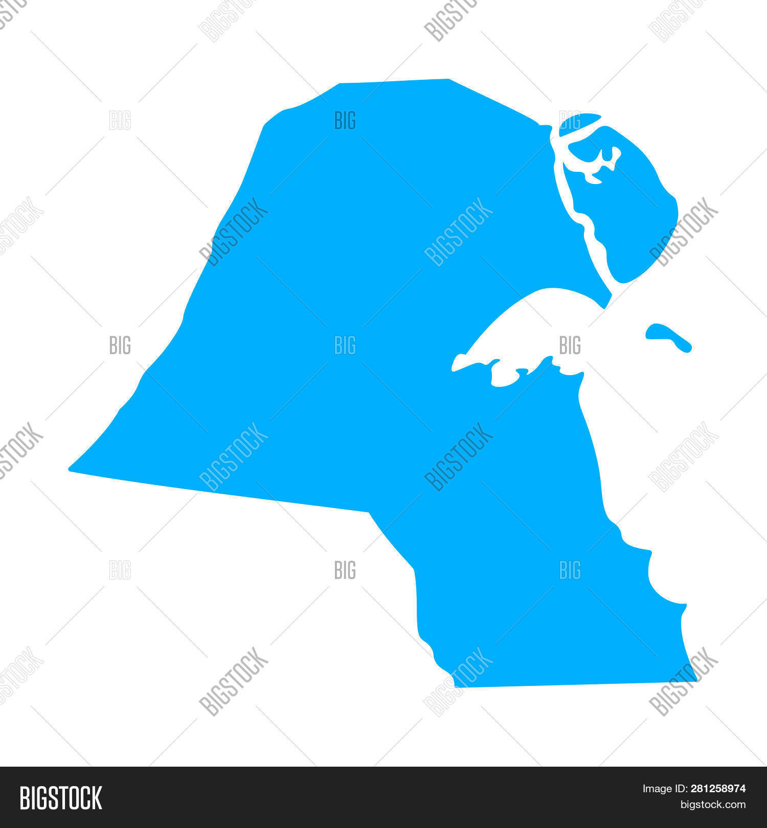 Map Kuwait - Outline. Image & Photo (Free Trial) | Bigstock