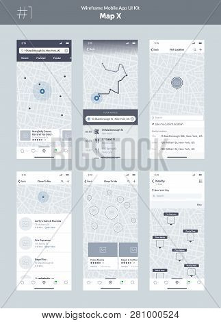 Wireframe Kit For Mobile Phone. Mobile App Ui, Ux Design. New Map Position: Popular Places, Cafes An