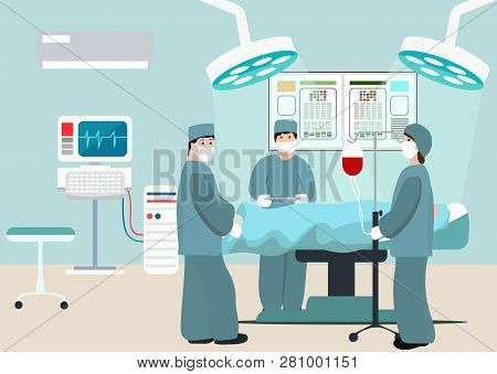 Vector Illustration Of Operating Room. Surgeon Team At Work In Operating Room. Medical Surgery Flat