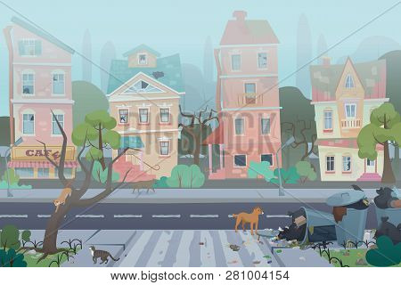 Dirty Foggy Street With Garbage Around. Empty City With Worn, Broken And Dirty Buildings, Waste, Ful