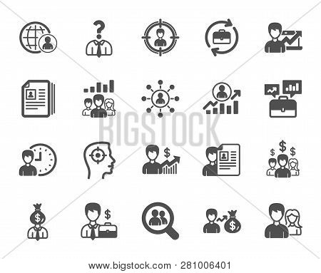 Human Resources, Head Hunting Icons. Business Networking Contract, Job Interview And Head Hunting Co