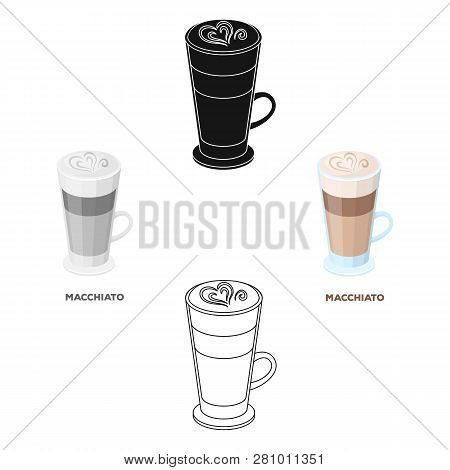 Cup Of Coffee Macchiato With Foam. Different Types Of Coffee Single Icon In Cartoon Style Vector Sym