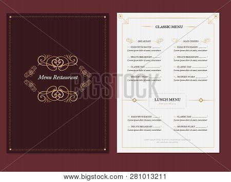 Vintage Elegant Menu Template Background For Restaurant With Golden Frames