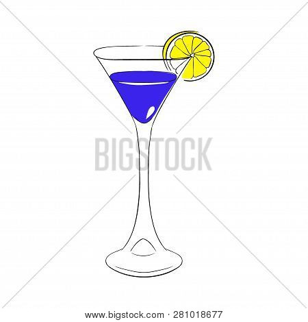 Liqueur Blue Curacao In A Tall Glass, Decorated With Orange Slice. Vector Hand Drawn Illustration.