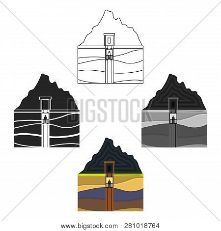Mine Shaft Icon In Cartoon Style Isolated On White Background. Mine Symbol Stock Vector Illustration