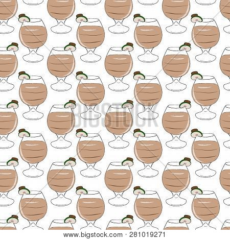 A Cocktail Of Creamy Liqueur With A Layer, Decorated With Apple. Vector Seamless Pattern