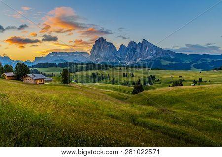 Beautiful Sunrise At Alpe Di Siusi (seiser Alm) With Langkofel Mountain In Dolomites, Italy
