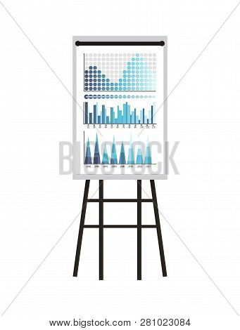 Infographics And Schemes, Statistics Presentation Vector. Whiteboard With Visualized Data, Charts An