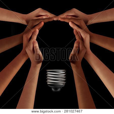 People Together Imagine And Thinking Teamwork As A Diverse Group Coming Together Joining Hands Into