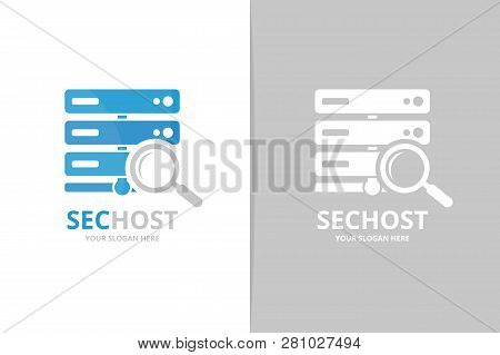 Vector Host And Loupe Logo Combination. Server And Magnifying Symbol Or Icon. Unique Data And Search