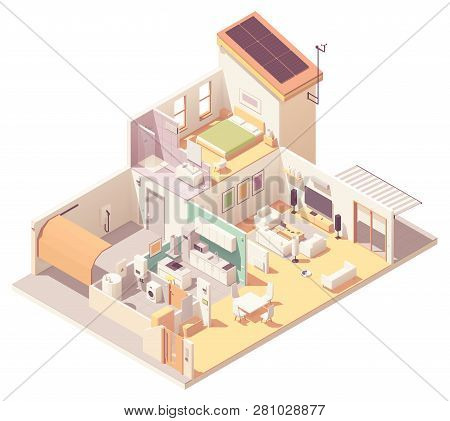 Vector Isometric House Cross-section. Garage, Kitchen, Living Room, Bedroom And Bath Included. Solar