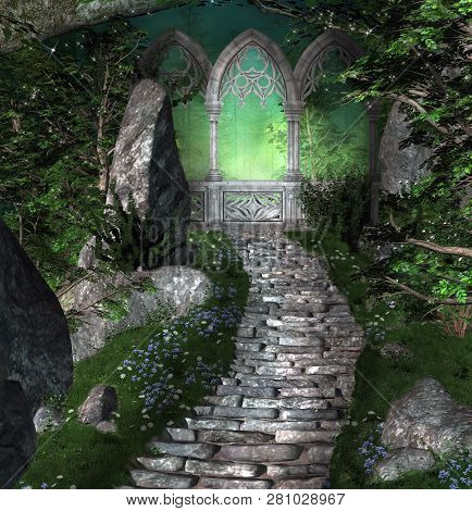 Ancient Portal In The Middle Of A Mysterious Fantasy Forest - 3d Illustration