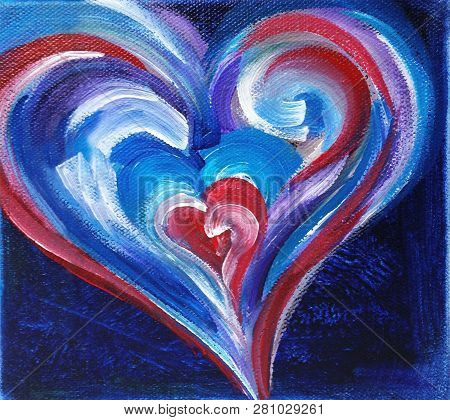 Acrylic Painting On Canvas Of Red, White And Blue Heart On Dark Blue Background