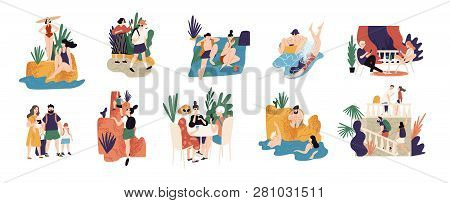 Collection Of Vacation Activities Or Scenes - People Hiking, Swimming, Sunbathing, Diving, Sightseei