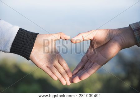 Couple In Love, Focus On Hands, Man And Woman Tourists In The Mountains, Happy Couple In Love,  Love
