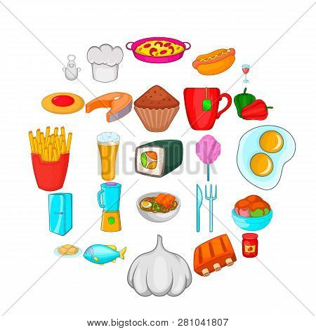 Have Supper Icons Set. Cartoon Set Of 25 Have Supper Vector Icons For Web Isolated On White Backgrou