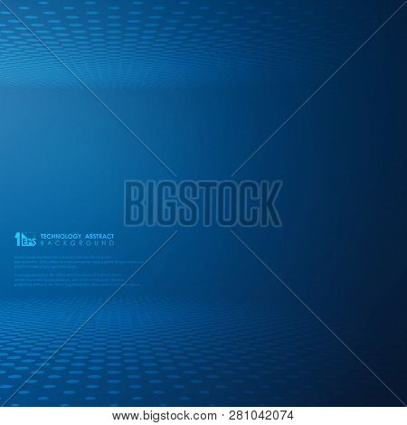 Abstract Futuristic Technology Gradient Blue Dot Circle Pattern Background. Decorating For Modern Te