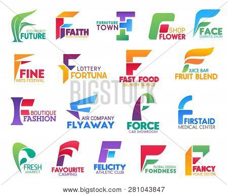 Corporate Identity Letter F Business Icons. Vector Ecology And Religion, Furniture And Floristry, Be