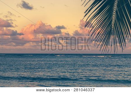 Sunset on tropical beach. Tropical beach landscape. Travel vacations destination. Travel concept. Perfect vacation sunset landscape. Sunset on the beach. Travel lifestyle vacation destination. Palm tree. Vacations.