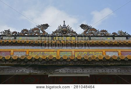 Roof Detail On The Thai Hoa Palace In The Imperial City, Hue, Vietnam