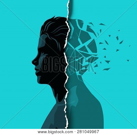 A Adult Male Dealing With Mental Health Issues. Anxiety, Mindfulness And Awareness Concept. Vector I