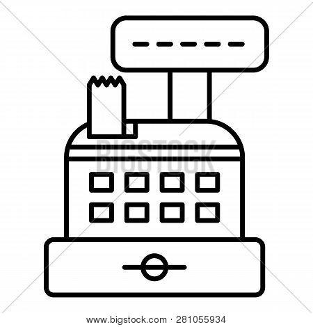Cash Register Icon. Outline Cash Register Vector Icon For Web Design Isolated On White Background