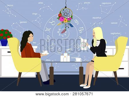 Young Girl In Consultation With An Astrologer. Two Girls Talk In The Astrologer Office. Astrology St
