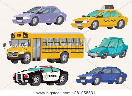 Set Of Toy Vehicles. Special Machines, Police Car, Cars, School Bus, City Bus. Toy Cars. Vector Illu