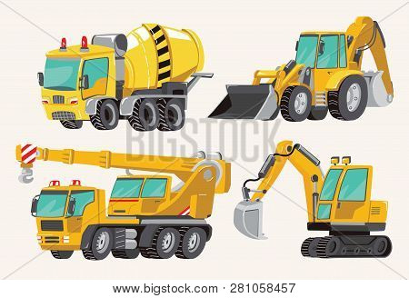 Set Of Toy Construction Equipment In Yellow. Special Machines For The Building Work. Forklifts, Cran