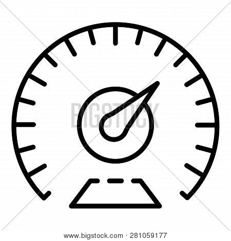 Km Per Hour Speedometer Icon. Outline Km Per Hour Speedometer Vector Icon For Web Design Isolated On
