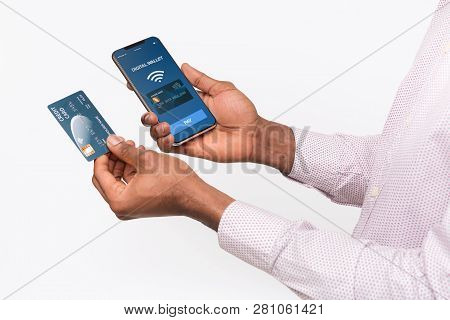 Mobile Banking. Man Using Smartphone With Digital Wallet Application, Online Payment From Credit Car