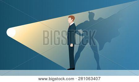Talent Headhunting. Sucsess Leader Like Superhero In Spotlight, Vector Concept Of Business Recruitme