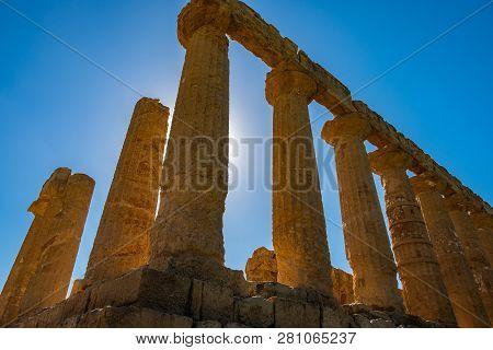 Ancient Greek Landmark In The Valle Dei Templi Outside Agrigento, Sicily