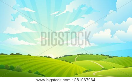 Fields Landscape. Scenic Green Hills Nature Sky Horizon Meadow Grass Field Rural Land Agriculture Gr