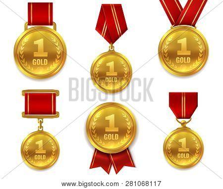 Champion Gold Medals. Award Winner Trophy Golden Medal Sport Reward Competition First Best Hero Red