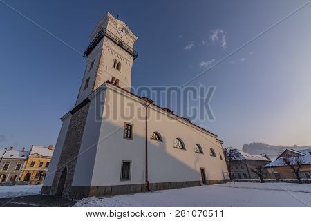 Church Of Birth Of Saint Mary In Spisske Podhradie Town In Frosty Cold Winter Snow Morning
