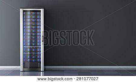 One Server rack against the wall in server room data center.3d rendering