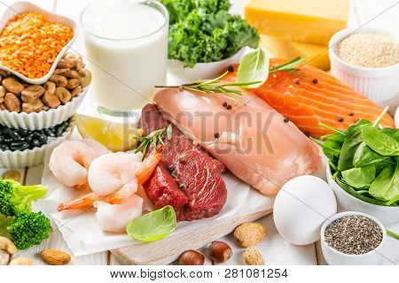 Selection Of Animal And Plant Protein Sources - Fish, Meat, Beans, Cheese, Eggs, Nuts And Seeds, Kal