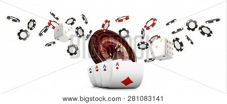 Playing Cards And Poker Chips Fly Casino Wide Banner. Casino Roulette Concept On White Background. P
