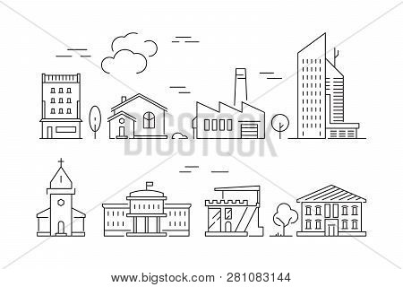 Urban Buildings Icon. Houses Living Rooms Villa Exterior Suburban Vector Linear Symbols Isolated. Il